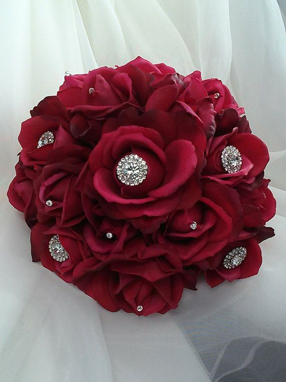 Red Real Touch Bridal Bouquet-Red Bridesmaids Bouquet-Red Wedding Bouquet-Red Wedding Flowers