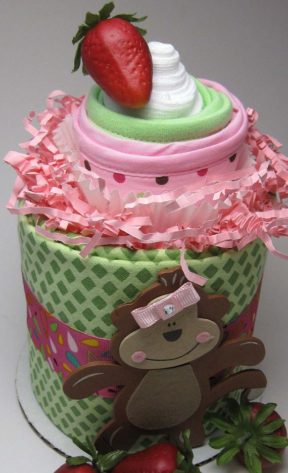 Monkey Mini Diaper Cake DuoTM Topped with by BabySweetTreats, $20.40