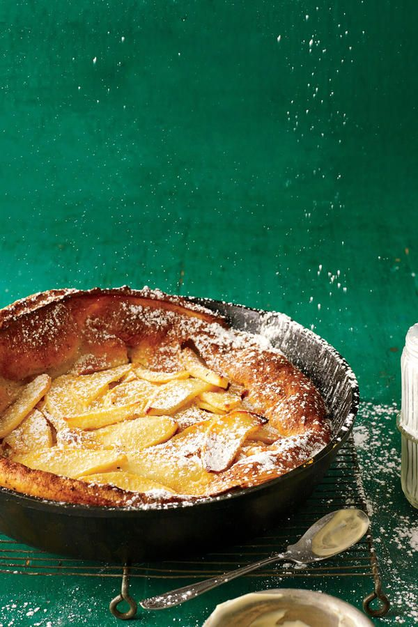 Apple-Cinnamon Dutch Baby - Cooking in Your Cast Iron Skillet - Southernliving. Recipe: Apple-Cinnamon Dutch Baby  Straight from the oven, this puffy, airy pancake will elicit major oohs and aahs from your crowd. Be sure to use low-fat or fat-free milk--the pancake will puff higher. Like a soufflé, it will begin to deflate as soon as it leaves the oven, though that won't affect the flavor.