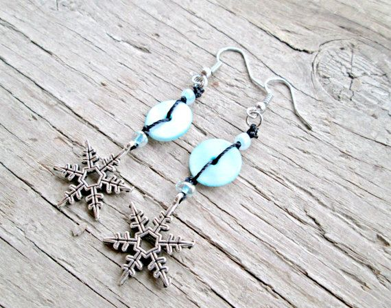 Snowflake Jewelry  Silver Snowflake Earrings  by EarthChildArt