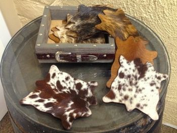 HAIR ON MINI COWHIDE COASTERS SET OF 8 IN STORAGE BOX | Western Decor by Signature Cowboy