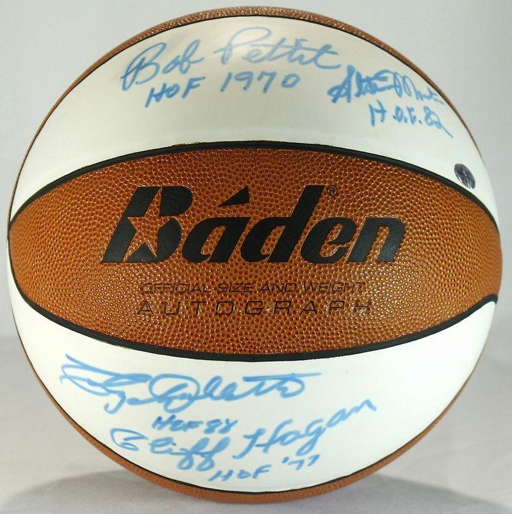 St. Louis Hawks HOF Basketball Signed by (4) with Cliff Hagan, Clyde Lovellette, Bob Pettit & Slater Martin (JSA ALOA)