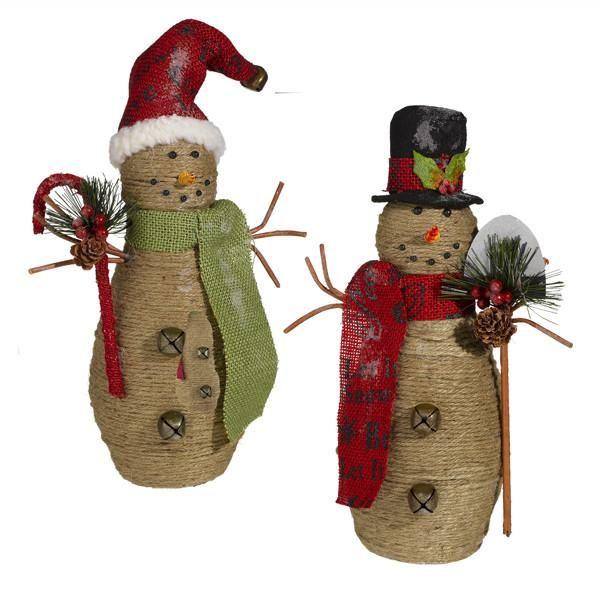 Jute Snowman Set Snowman Figurine Raz Imports Christmas Chic Christmas Decor