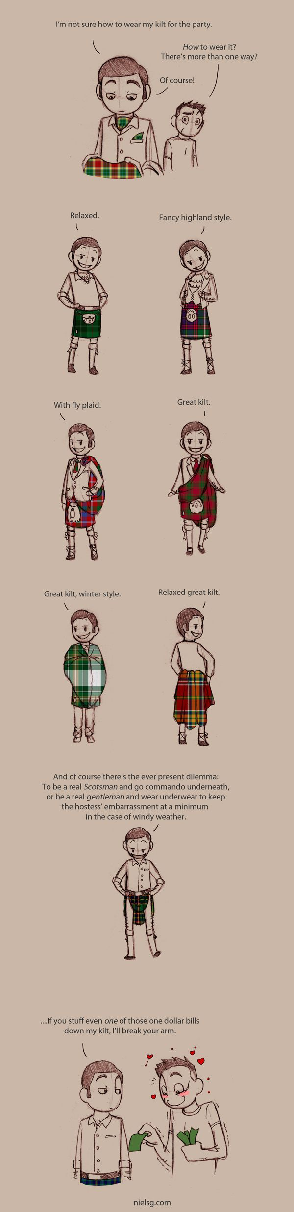 the many ways to wear a kilt/kilt patterns
