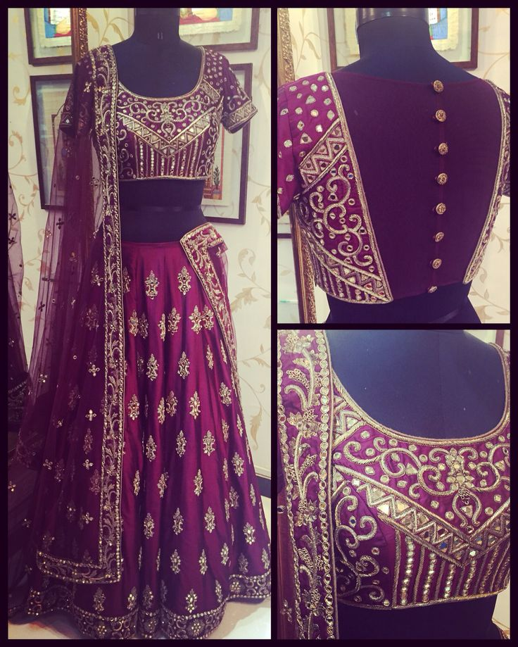 Wine colour Lehanga with antique gold and mirror work