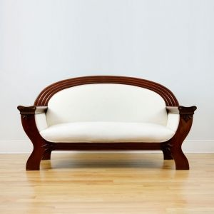 Art Deco Gondola Sofa in Cuban Mahogany, c.1915: Bonnin Ashley Antiques - American Antique Furniture, French Antique Furniture
