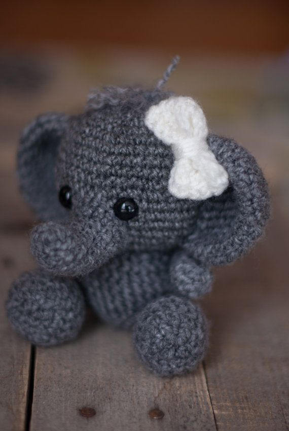 PATTERN: Crochet elephant toy - amigurumi elephant - jungle animal - stuffed toy animal tutorial - PDF crochet pattern
