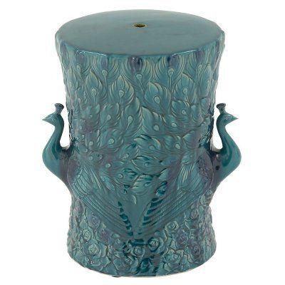Turquoise Peacock Ceramic Garden Stool - 40858