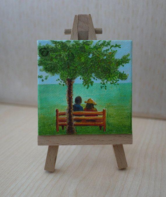 Under The Tree Original Tiny Painting by JewellsArtUK on Etsy