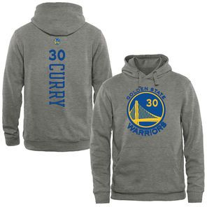 Men's Golden State Warriors Stephen Curry Heathered Gray Stacked Name & Number Pullover Hoodie