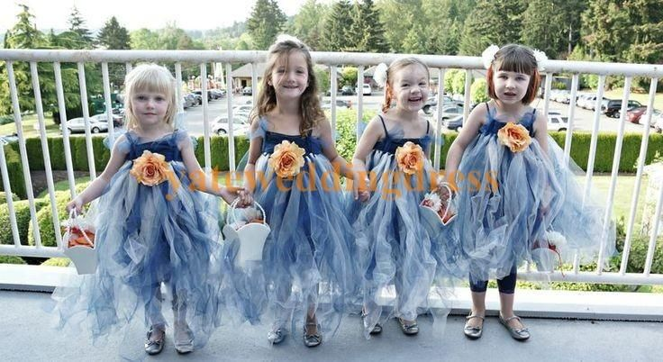 Colorful Tank Flower Girls' Dresses Spaghetti Straps Long Length Sleeveless Tulle Handmade Flower 2015 Kids Dress For Wedding Party
