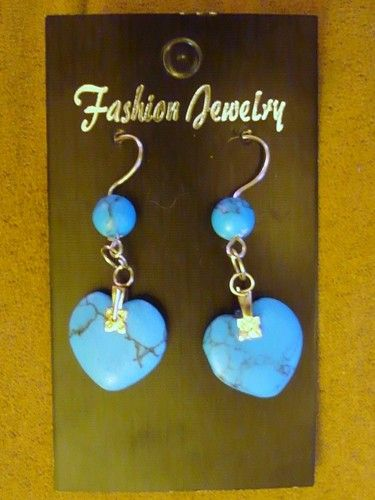 Turquoise heart earrings with stainless steel hooks. No more sore ears! Bid $9.99