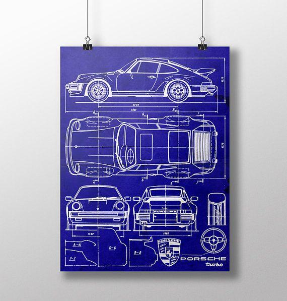 459 best blueprint t shirt images on pinterest car drawings porsche 911 turbo blueprint car poster porsche print by lautstarke malvernweather Image collections