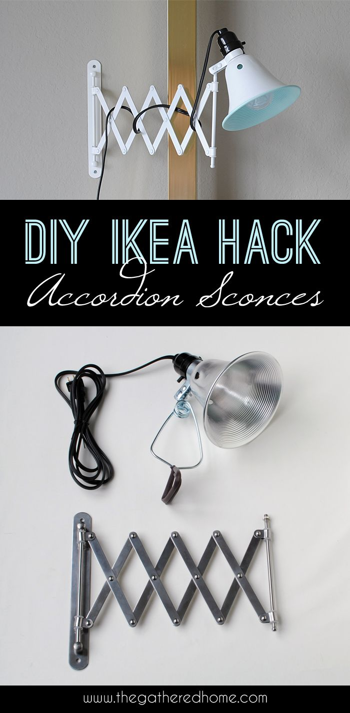 A $5 Ikea mirror + hardware store clamp lights create these adorable accordion sconces!