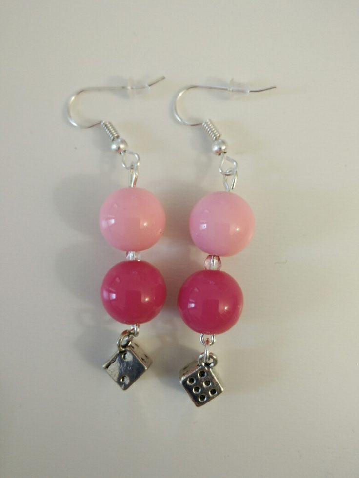 Boucles d'oreille perles rose et rouge + dés #diy #french #earring