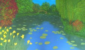 Monet´s Garden - Original, one of a kind, large landscape painting with discerning texture by Liza Wheeler