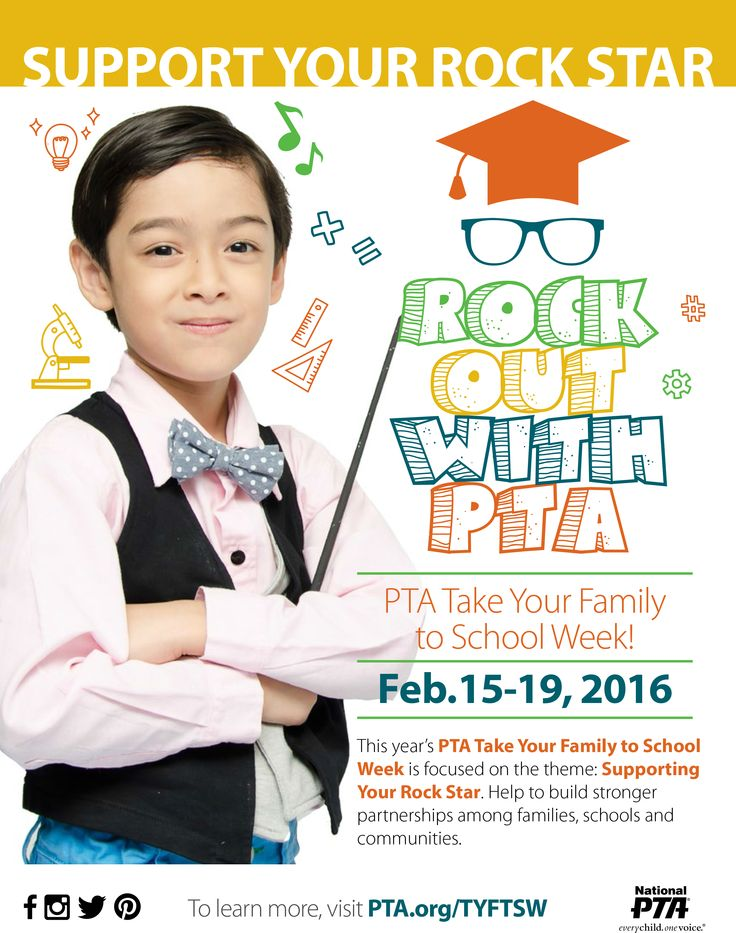"""Download the 2016 National PTA Take Your Family to School Week """"Rock Out with PTA"""" fliers!"""