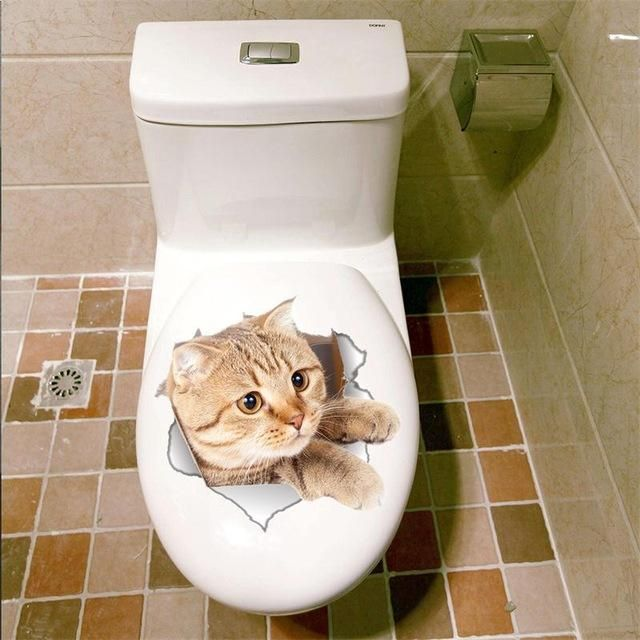 Toilet Escape Cat Sticker In 2020 Wall Stickers Toilet Toilet Decoration Wall Stickers Room