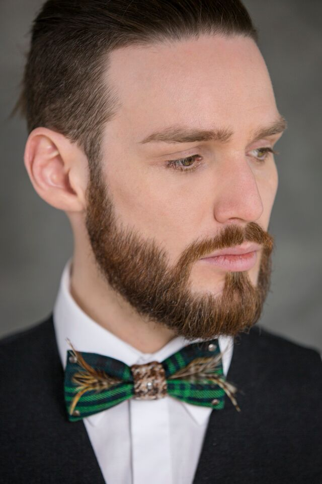 Kitsch Me Vintage Hand made bow tie with feather and stud adornments Model Calum Shambolic Angela Graham photography