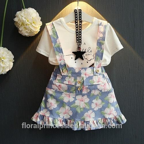 2017 Girls Summer Fashion Suits 2 COLOR Children Flouncing Trumpet Shirt +Suspender Dresses Sets suits Kid Girl Princess Outfits