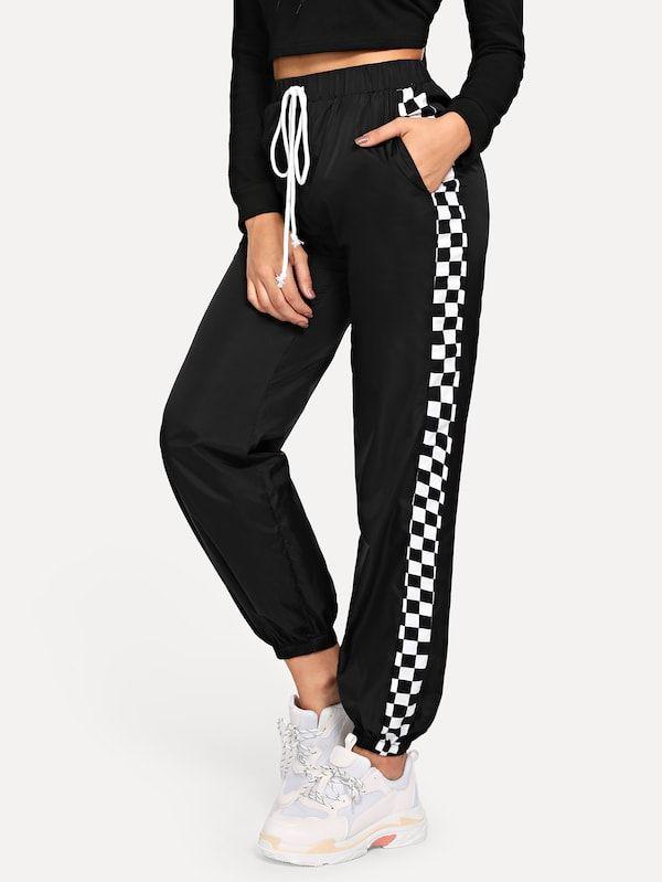 Slant Pocket Checked Panel Trousers Moda De Ropa Ropa Tumblr Ropa