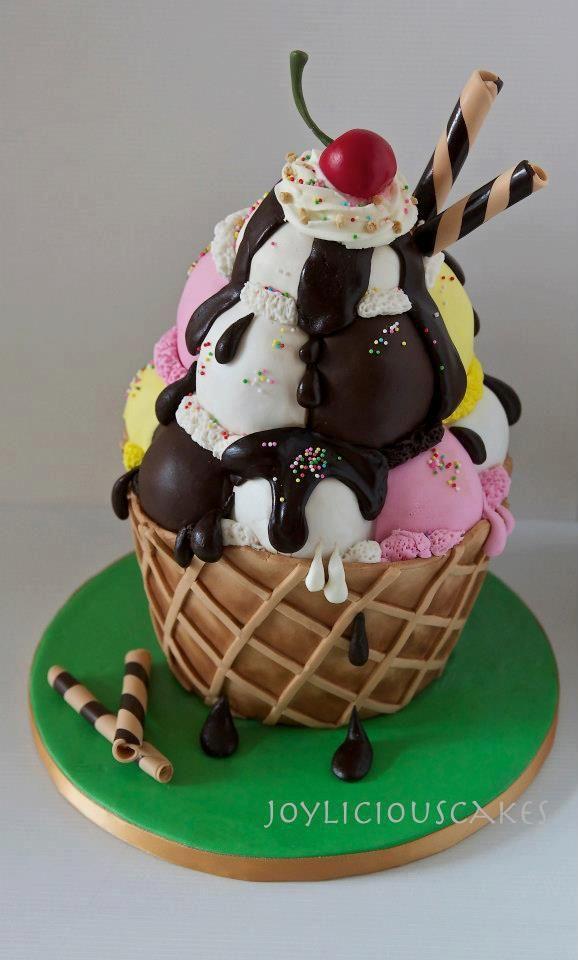 Ice cream sundae cake  Fondant Cake Ideas  Pinterest  Cakes, Cream ...