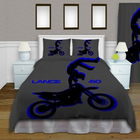 Motocross Blue Comforter Set for Kids, Dirt Bike Rider Bedding for Boys #136 #EloquentInnovations #HomeDecor #Bedding #Custom #Sports #Motocross