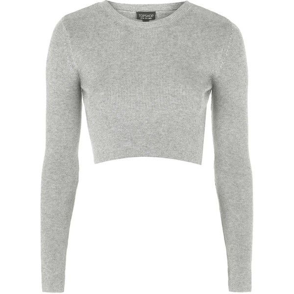 TOPSHOP Ribbed Crew Neck Cropped Sweater (£33) ❤ liked on Polyvore featuring tops, sweaters, crop tops, shirts, grey marl, ribbed crop top, grey crew neck sweater, ribbed shirt, grey crop top and crewneck shirt