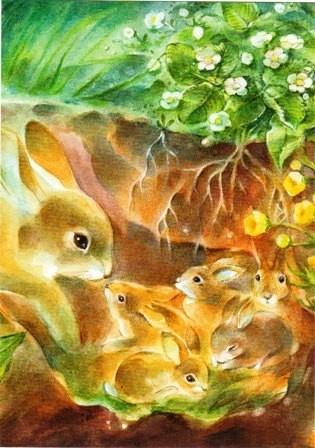 Moederhaas met kleintjes - Marie-Laure Viriot - Kaart - Bunny Rabbits