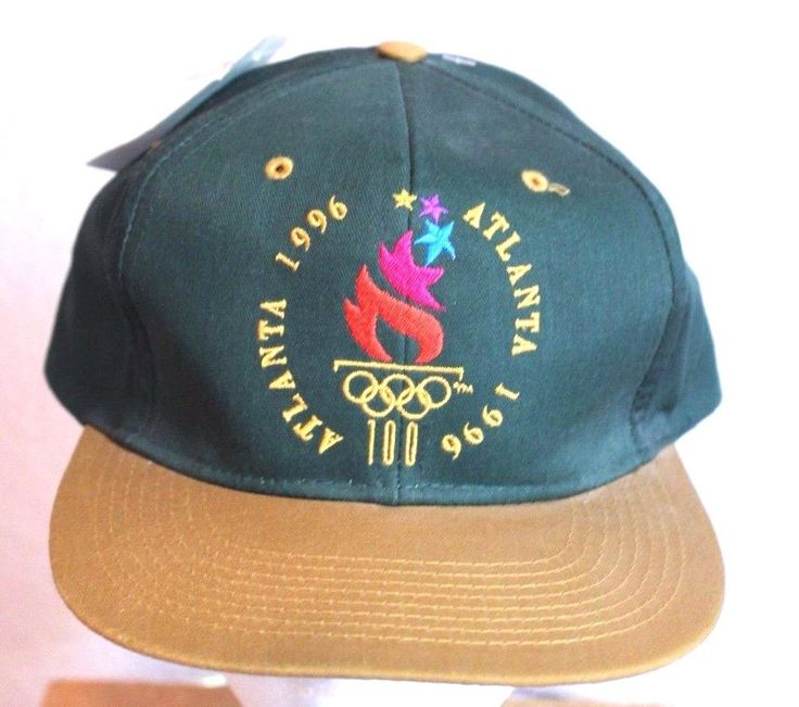VTG Atlanta 1996 Olympic Games Green Gold Adjustable Ball Cap Trucker Hat NWT  #logo7