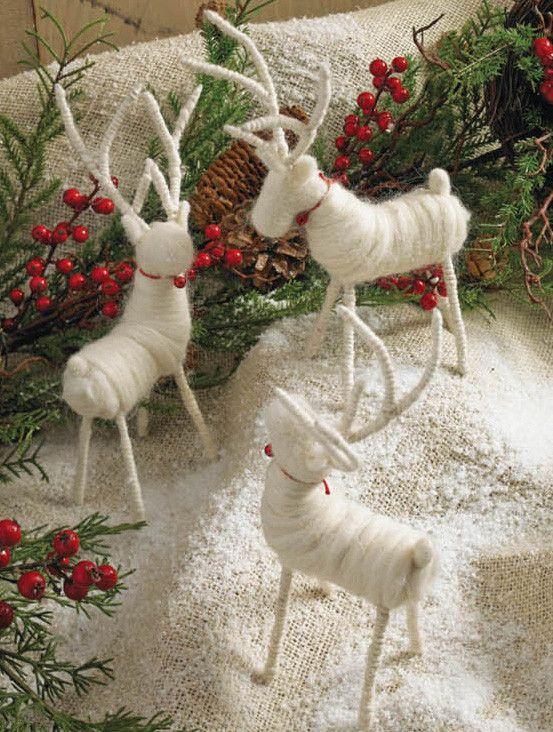 White Felt Deer