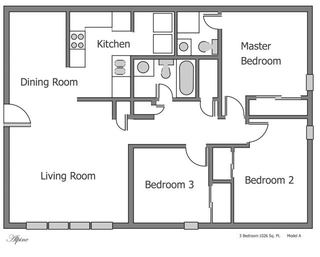 Plain 3 bedroom apartment floor plans on apartments with - Architectural plan of two bedroom flat with dining room ...