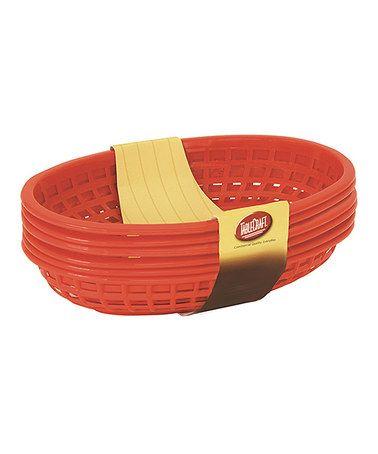 Look at this #zulilyfind! Red Burger Basket Set #zulilyfinds