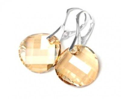 Srebrne Kolczyki Swarovski Twist Golden Shadow. Srebro p.925 #earrings #kolczyki #Swarovski