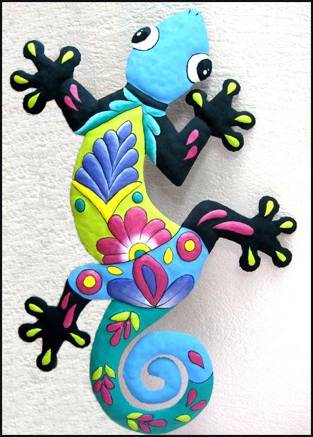 gecko metal pintado a mano que cuelga de la pared - Arte tropical del jardín del…