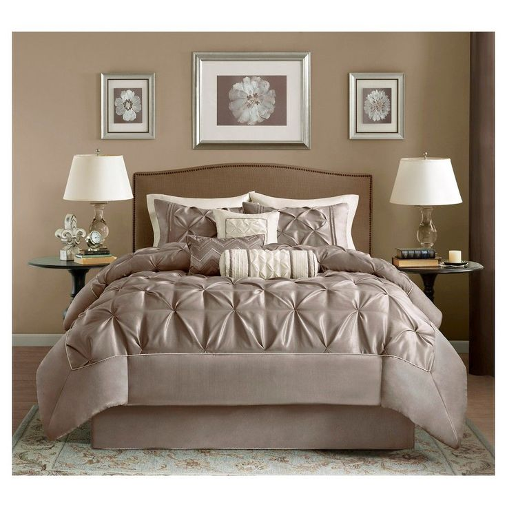 Piedmont Comforter Set (Queen) Taupe 7pc Bedding