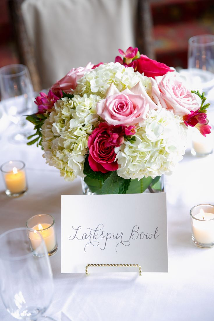 Low and lush centerpiece with white hydrangeas, hot pink freesia and light and hot pink roses. Florals by www.vailvintagemagnolia.com