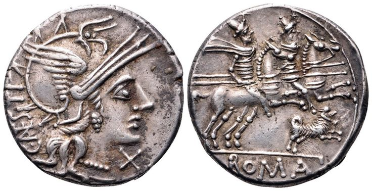 C. Antestius AR Denarius. Rome, 146 BC. Helmeted head of Roma right; C ANESTI behind; X below chin / The Dioscuri riding right; dog with both fore-feet raised below; ROMA in exergue.