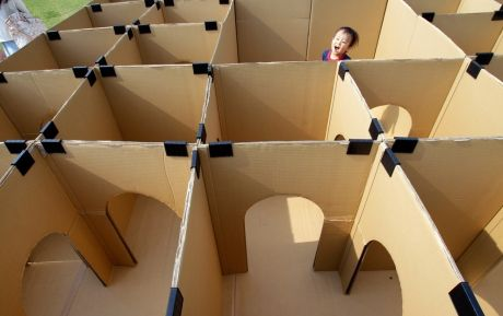 Maze made out of cardboard boxes