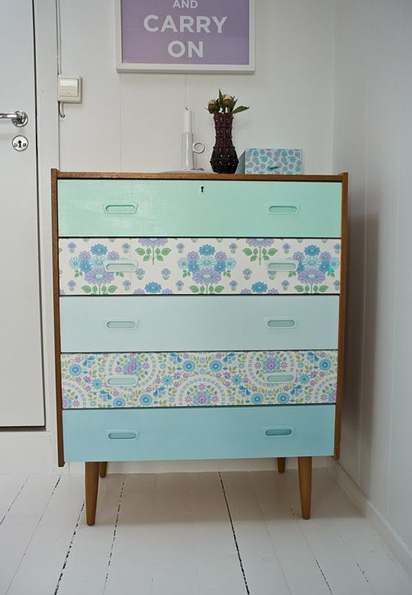 diy wallpapered dresser drawers room ideas girls