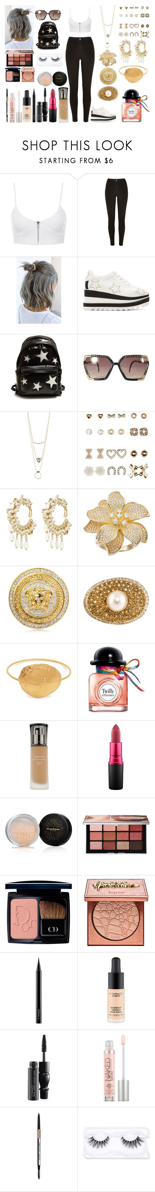 """""""Untitled #1250"""" by asiebenthaler ❤ liked on Polyvore featuring River Island, Invisibobble, STELLA McCARTNEY, Ted Lapidus, Charlotte Russe, Rosantica, Alighieri, Hermès, Elizabeth Arden and MAC Cosmetics"""
