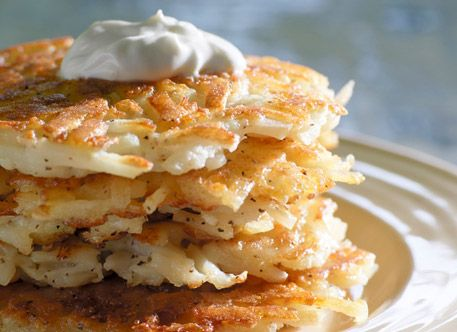 Potato Latkes Recipe from AllWhites and Better'n Eggs, wanna tryvthis with shredded sweet potato
