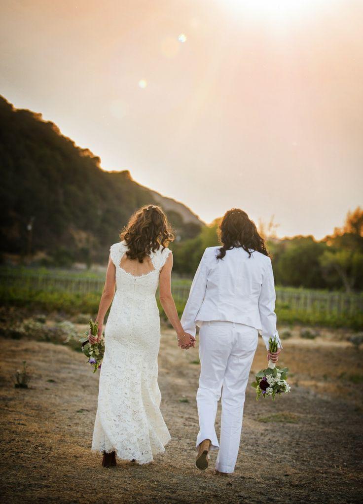Two Beautiful Brides Celebrating Their Santa Barbara Wedding Photo By Willa Kveta Via Www Santabarbarwedding