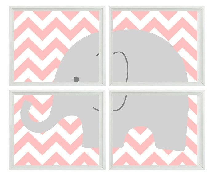 Elephant Nursery Chevron Wall Art Print Set Of 4 11x14 - Pink Gray Decor - Children Kid Boy room - Wall Art Home Decor. $60.00, via Etsy.