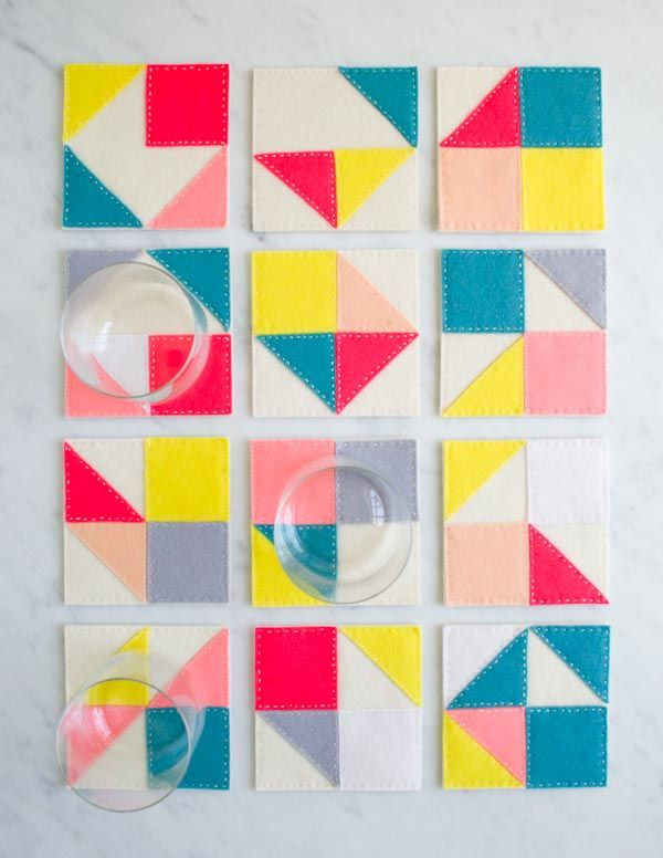 #DIY geometric felt coasters in bright and bold shades for the coolest place to set your summer drinks!