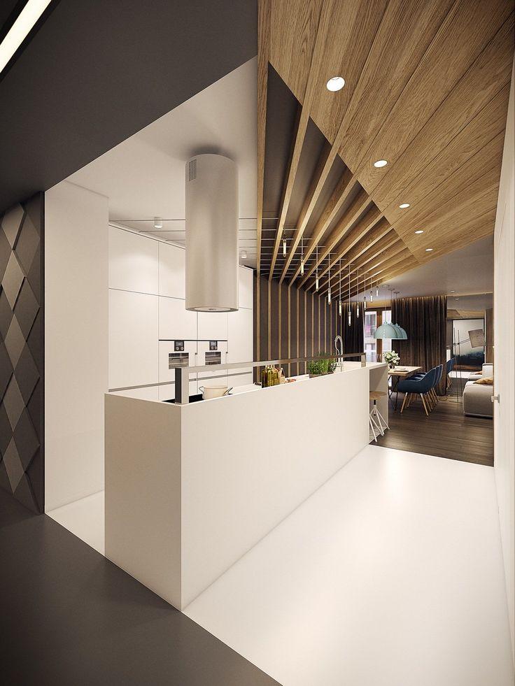 50+ Идей дизайна потолка на кухне: Какой лучше ? Полезные рекомендации специалистов (фото) http://happymodern.ru/disajn-potolok-na-kukhne-foto/ Шикарный комбинированный потолок современной кухни