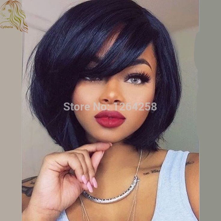 8A 180Density Short Human Hair Wigs With Bangs For Black Women Glueless Bob Full Lace Wigs Brazilian Virgin Hair Lace Front Wigs