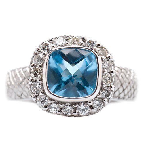 Palladium Blue Topaz and Diamond Cocktail Ring Silver USA. $513.00. Made in U.S.A.. Hand set Blue Topaz and Diamonds. Purchase includes beautiful gift box