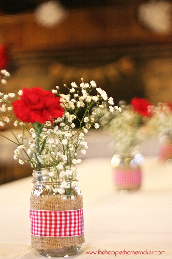 Rustic Spring Bridal Shower but burlap and lace instead of picnic table cloth