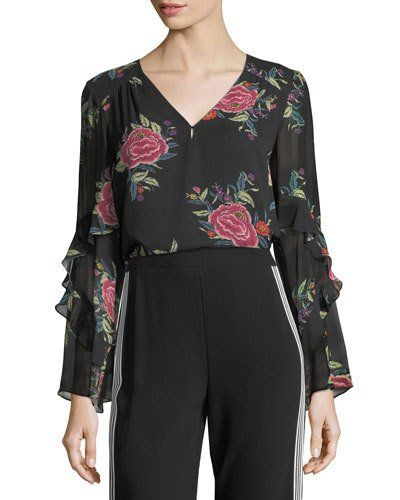 d670a2c0 Nanette Lepore Margarita V-Neck Floral Silk Top Ruffle Trim, Nanette Lepore,  Silk